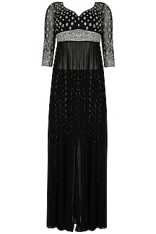 Black and silver embroiodered gown with fully embellished trousers