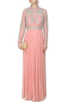 Rose pink sequins embroidered roughed jacket gown by Rabani & Rakha