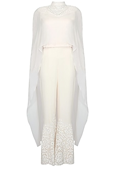 Ivory appliqued work cape top with palazzo pants by Rabani & Rakha