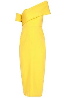 Yellow Cross Bar Pencil Dress by Rutu Neeva