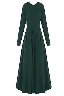 Bottle Green Circular Flounce Dress