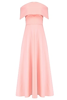 Blush Pink off Shoulder Flounce Dress