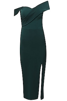Deep green cross shoulder knee length dress