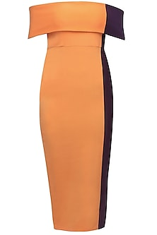 Orange and purple dual off shoulder dress