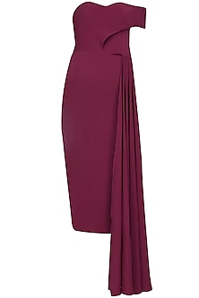 Oxblood drop shoulder pleated panel dress