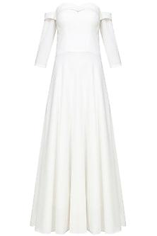White off shoulder circular flounce dress by Rutu Neeva