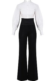 White Tuxedo Shirt and Navy Blue Cummberbund Flared Pants by Rutu Neeva