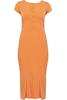Orange mandarin vintage drop waist dress