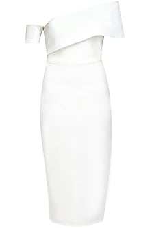 White shoulder barred dress
