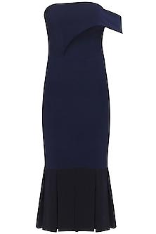 Midnight blue overlayered trumpet dress