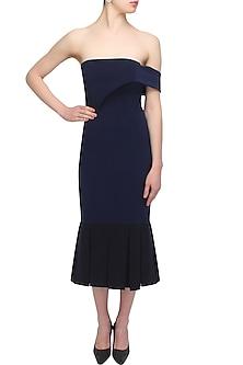 Midnight blue overlayered trumpet dress by Rutu Neeva
