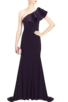 Purple heliotrope frilled one shoulder gown by Rutu Neeva