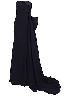 Midnight blue fish tail overlay gown