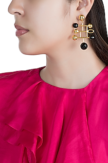 Gold Finish Black Onyx Stone Earrings by Rosa Damascena by Shreya Jindal
