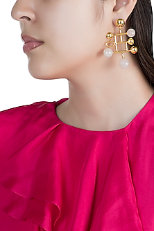Gold Finish White Onyx Stone Earrings by Rosa Damascena by Shreya Jindal