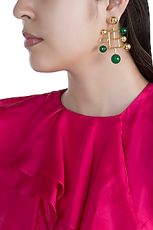 Gold Finish Green Onyx Stone Earrings by Rosa Damascena by Shreya Jindal
