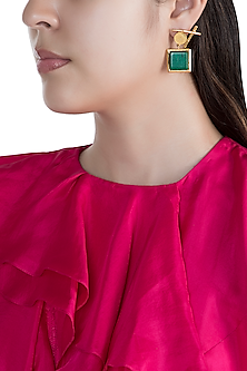 Gold Finish Malachite Stone Earrings by Rosa Damascena by Shreya Jindal