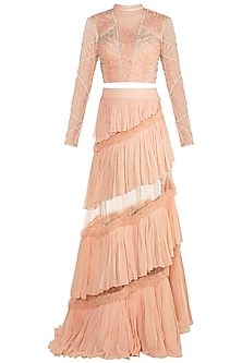 Peach Embroidered Blouse & Skirt by Rozina