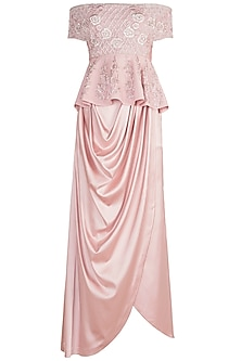 Tea Pink Embroidered Peplum Top With Cowl Skirt by Rozina