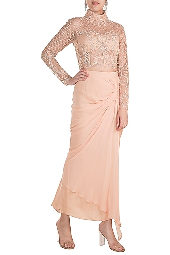 Peach Embroidered Blouse With Knotted Skirt by Rozina