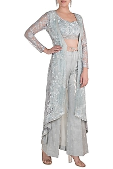 Grey Embroidered Blouse With Pants & Jacket by Rozina