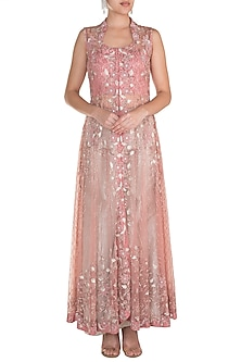 Pink Embroidered Jacket With Silver Palazzo Pants by Rozina