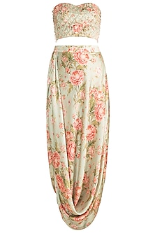 Pista Green & Peach Printed Embroidered Drape Skirt With Tube Blouse by Rozina