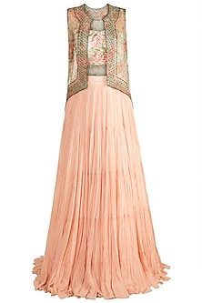 Peach & Green Printed Embroidered Blouse With Jacket & Skirt by Rozina