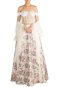 Off White & Pink Printed Sequins Lehenga Set by Rozina
