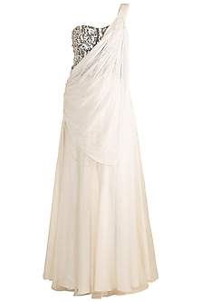 Off White Embellished Drape Skirt With Grey Corset Blouse by Rozina