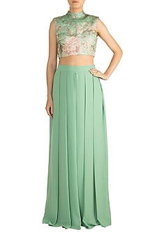 Green & Pink Printed Embroidered Crop Top With Pleated Pants by Rozina