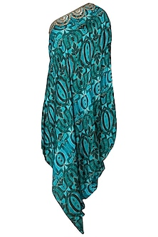 Green Embroidered Printed Drape Dress