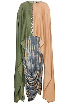Beige & Green Kaftan Top