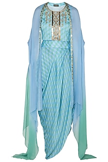 Light Blue & Green Printed Top With Skirt & Cape Jacket by Roshni Chopra