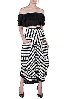 Black & White Striped Skirt by Roshni Chopra