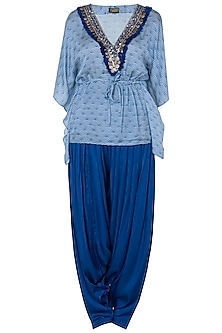 Blue Embroidered Kaftan Top With Patiala Pants