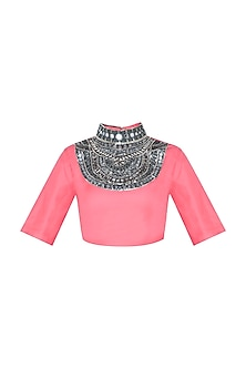 Pink Mirror Worked Crop Top by Roshni Chopra