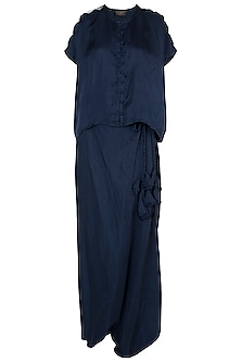 Blue embroidered boxy top with drape pants