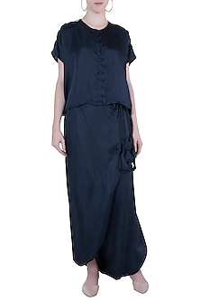 Blue embroidered boxy top with drape pants by Roshni Chopra