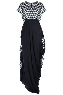 Black embellished printed kaftan dress by Roshni Chopra