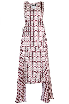 Red printed high-low dress by Roshni Chopra