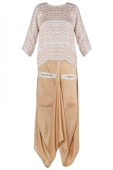 Beige printed top with dhoti skirt