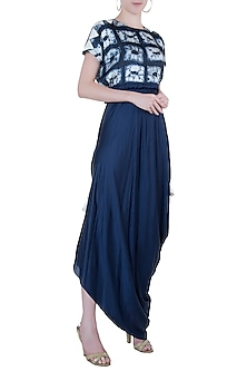 Dark blue embroidered kaftan dress by Roshni Chopra