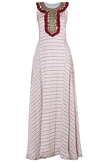 Red printed fringes maxi dress
