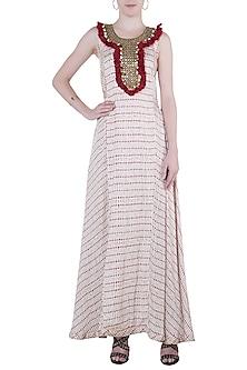 Red printed fringes maxi dress by Roshni Chopra