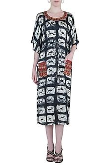 Black embroidered kaftan dress by Roshni Chopra