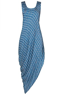 Blue printed drape cowl dress
