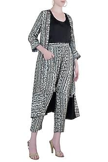 Black tribal print jacket and pant with black top by Roshni Chopra
