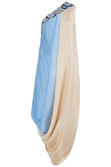 Beige and blue embroidered cowl dress