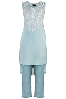 Ice blue embroidered tunic with pants